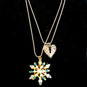Betsey Johnson double chain snowflake necklace.